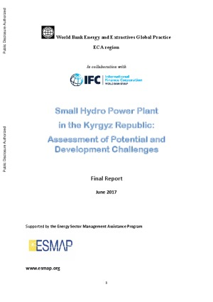 Small Hydro Power Plant in the Kyrgyz Republic: Assessment of Potential and Development Challenges