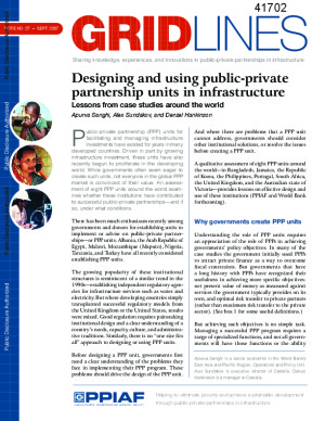 Designing and using public-private partnership units in infrastructure