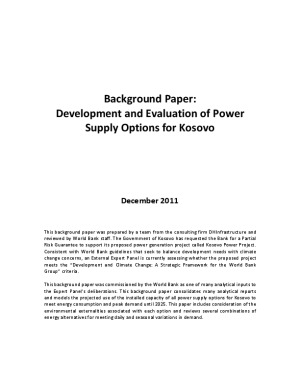 Background Paper: Development and Evaluation of Power Supply Options for Kosovo